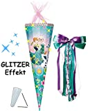 Unbekannt mit 3-D Glitzer Effekt ! - Schultüte -  Disney die Eiskönigin - Frozen  - 85 cm / 12 eckig - incl. große Schleife - Organza Abschluß - Zuckertüte - mit / oh..