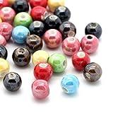 Housweety Bijoux Accessoire 50 Mixte Perles Ceramique Ronde 6mm Dia.