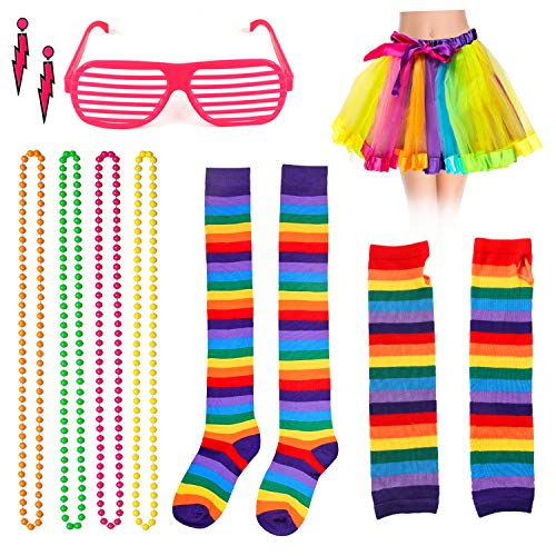 Beelittle Calcetines Largos de Guantes de Arcoiris Mujer y Conjunto de Accesorios de Fiesta con Falda de tutú de Tul de 3 Capas