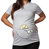 T-shirt lunga da donna ideale per il premaman 'sto arrivando' - con bimbo che esce dalla pancia - stampa divertente by tshirteria