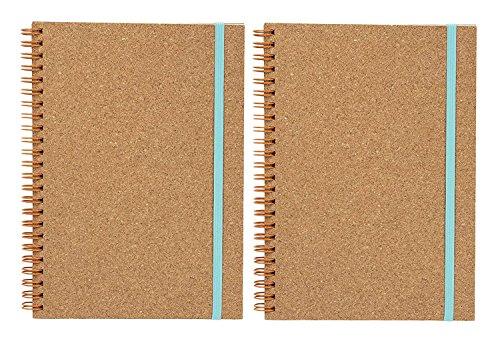 Cuadernos en espiral de corcho, 2 unidades, con forro ecológico, tapa dura, con cierre de correa elástica, diario de viaje, diario, cuaderno de oficina, escuela, estudiante, 60 hojas, 15,24 x 20,32 cm
