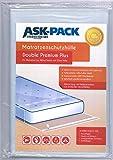 ASK Pack Premium Matratzenschutzhülle Double für 180cm breite/bis 25cm hohe/bis 220cm Lange Matratze - mit vielfach wiederverwendbarem KLEBEVERSCHLUSS - Ultra stark 120µ