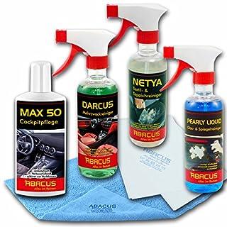 ABACUS Auto INNENPFLEGE Set (7084) - 1x 250 ml MAX 50 Cockpitpflege + 1x 300 ml Pearly Liquid Glasreiniger + 1x 300 ml NETYA Textilreiniger + 1x 300 ml DARCUS Mehrzweckreiniger + UVM