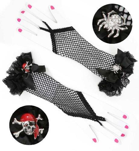 Handschuhe Chic mit Spitze u. Schleife fingerlos schwarz Netz Gothic Punk Modell: Spinne