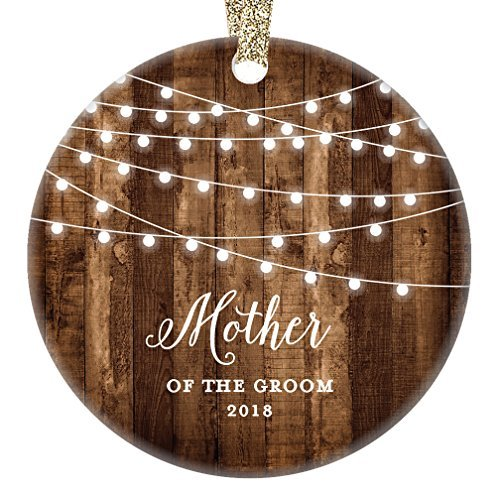 qidushop Mother of The Groom Gifts 2018, Groom's Mom Christmas Ornament Wedding Favor Bridal Party Thank You Mommy Rustic Farmhouse Collectible Present Flat Circle Porcelain (First Birthday Party Favor Ideen)