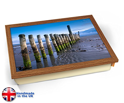 Wittering Beach Posts Sea Coast Seaside Cushion Lap Tray Kissen Tablett Knietablett Kissentablett - Holz Effekt Rahmen - Tulip Post