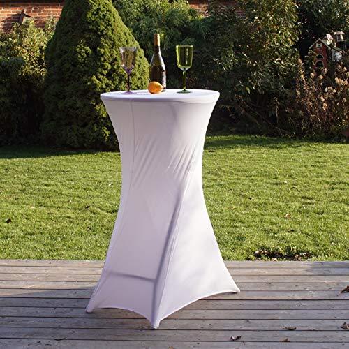 TRUTZHOLM 1 Stück Tischdecke Husse für Partytisch Bistrotisch Stehtisch Husse Stehtischhusse weiß Decke 60 cm Klapptisch Tischüberzug Tischhusse