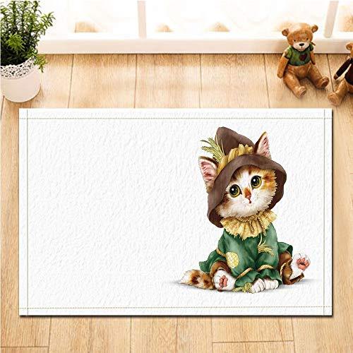 JHTRSJYTJ Lustige Nette Katze der Tierdekoration, die Kleidung und Hut des weißen Hintergrundes Rutschfeste Fußmattenbadmatte 40 * 60CM trägt