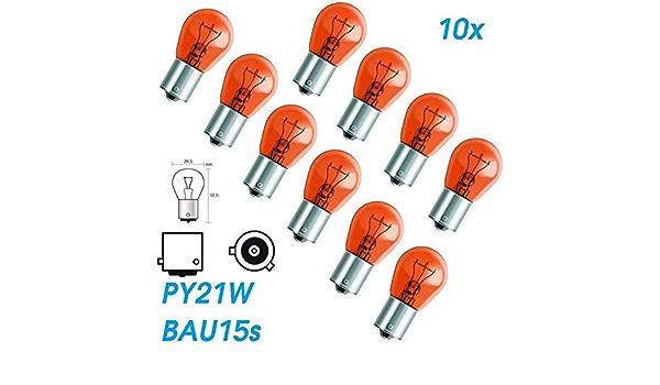 10x Stück Py21w Bau15s 12v 21w Amber Orang Kfz Beleuchtung Glühlampe Versetzte Pins Kugellampe Blinklicht Blinkerlampe Blinkerbirne Glühbirne Soffitte Autolampen Chiavi Auto