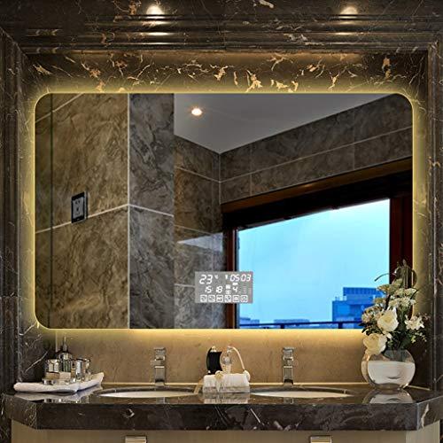 Miroirs Smart Screen Mirror Touch LED Mirror Wall Mount De Salle De Bains avec Lumière De Salle De Bains (Color : Chrome, Size : 70 * 90 * 3cm)