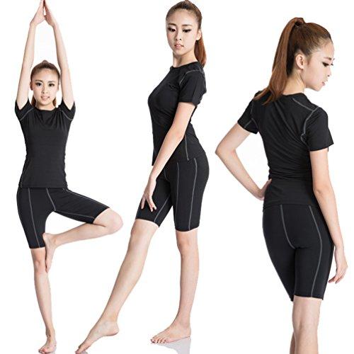 ZKOO Donna Maglietta Sport Tees Esercizio In Esecuzione Asciugatura Rapida T-shirt Fitness Yoga T-shirt Nero