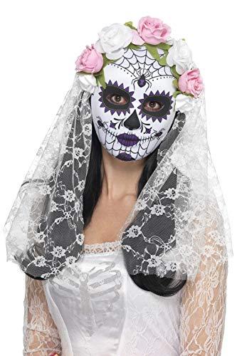 Der Haar Toten Tag Kostüm - Smiffys Damen Tag der Toten Braut Gesichtsmaske mit Rosen und Schleier, One Size, Weiß, 44899