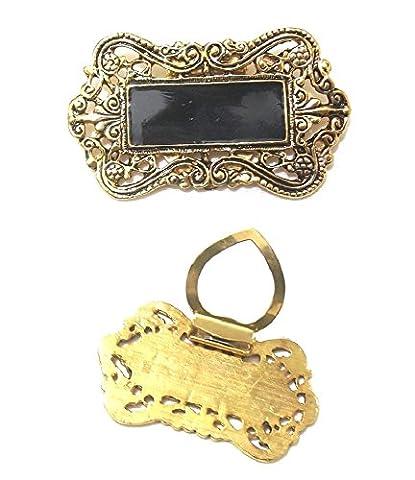 Vintage Antique Victorian Black Gold Fashion Scarf Scarve Clip Pin