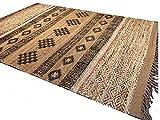 Second Nature Shari Fair Trade Teppich aus Jute und Wolle, mit mehrfarbigen recycelten Sari-Fäden und Blockdruck, geometrische Streifen, Beige, Jute, Mehrfarbig, 120 x 180 cm