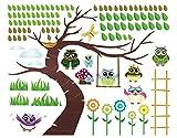 Wandtattoo Kinderzimmer Eule No.YK23 Lustiger Eulenbaum, Größe: 120cm x 148cm