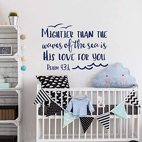 Dozili Psalm 93:4 Wandaufkleber, englische Aufschrift Mightier Than The Waves of The Sea is His Love for You, für Kinderzimmer, 45,7 x 66 cm