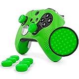 #5: Elite Pro Grip Studded Skin Set For Xbox One Elite Controller By Foamy Lizard Sweat Free Silicone Skin W/ Raised Anti Slip Studs Plus Set Of 8 Qsx Elite Thumb Grips (Skin + Qsx E Grips, Green)