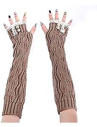 erisi18 caripe Damen Handschuhe Armstulpen Winter Fingerhandschuhe Armwärmer