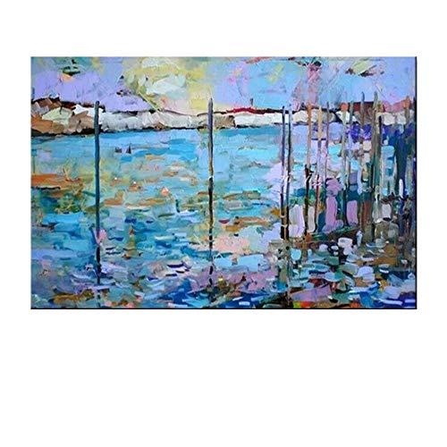 RALCAN Rahmenlose Bilder Handgemaltes Modernes Abstraktes Ölgemälde Auf Leinwand Wandkunst Bild Für Hotel Dekoration Kunst-100X160cm(40X64Inch)