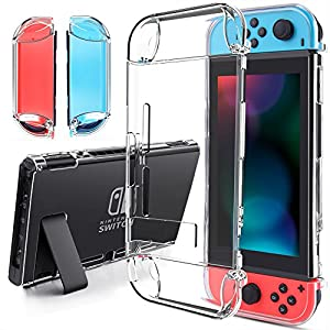findway Switch Hülle, Crystal Cover Case kompatibel mit Nintendo Switch und Joy-Con Controller, TPU Klar Transparent Shock Absorption Technologie Bumper Protective Accessories