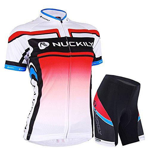 Nuckily Damen-Fahrradtrikot Custom Fit kurze elegante Lady Style Radsport Set Größe L rose