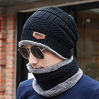 Hat Sombrero De Invierno De Los Hombres Más Sombrero De Lana Gruesa De Terciopelo, Gorro Caliente, Ciclismo De Invierno Marea De Dos Piezas Sombrero De Viento,Negro,Un tamaño