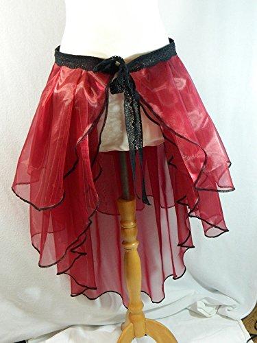 Kostüm Tanz Steampunk - Rock dunkel rot Bustle Skirt Schleppe Wickelrock Organza Gothic Steampunk Tanz Kostüm Karneval