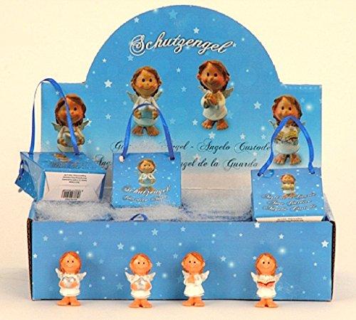 Tolles Display mit 24 Engel Figuren in Flügel je in Geschenktütchen Schutzengel Antik Gold Putte Hochzeit Taufe Geburt Weihnachten Angel Deko Gebet Andenken Gardian Angel (Taufe Engel Figur)