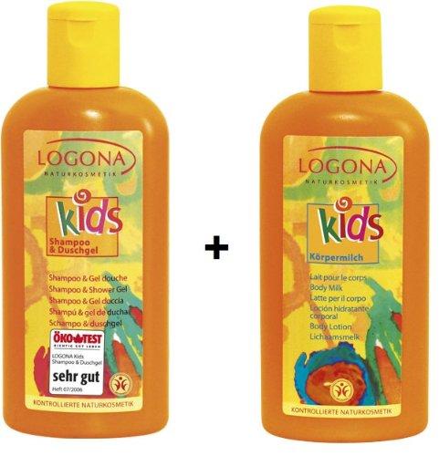 Logona Kids Shampoo & Duschgel 200 ml und Kids Körpermilch 200 ml im Set für eine sanfte Reinigung