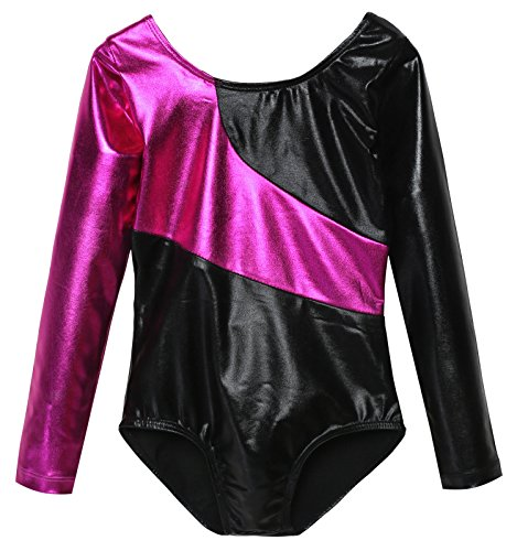girls-elastic-long-sleeved-gymnastic-leotard-soft-shiny-one-piece-gym-suit-160age-for-11-12y-rose-re