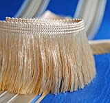 Luxus Fransen Farbe Altgold / Sahara 60 mm breit Meterware Dekoborte Dekoband Posamentenborte
