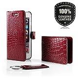 SURAZO Cayme - Leder Geschenkset Handy Schutzhülle, Card Holder, Schlüsselring - Farbe Rot Vintage Kollektion für Samsung Galaxy S3/S3 LTE