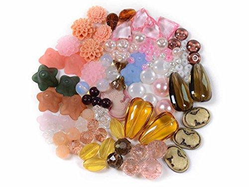 Vintageparts DIY Perlenmischung Nude-Töne mit über 100 Perlen und Cabochons passend zu den großen Bastelsets mit 400 Teilen in Bronze oder Silberfarben Perlenset Vintage