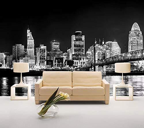 Schwarz-Weiß-Architektur mit Blick auf die Stadt Tapeten 3D Effekt Vliestapete Moderne Wanddeko ()
