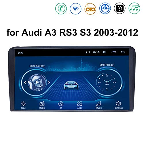 Auto Multimedia Player, Android 8.1 System 9 Zoll Touch Bildschirm Autoradio GPS für Audi A3 RS3 S3 2003-2012,mit Navigation Radio Stereo WiFi Bluetooth USB Lenkradsteuerung,4G+WiFi:2+32G