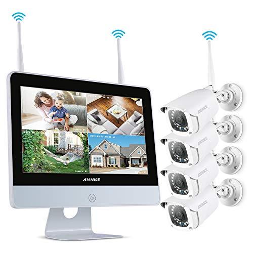 ANNKE Überwachungskamera System 8CH 1080P 12 Zoll drahtloses NVR WiFi-Kamera-System mit Monitor und 4 x 1080P WLAN-IP Netzwerkkamera für Innen und Außen(ohne Festplatte)