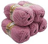 Alpaka Royal 5 x 100 Gramm Alize Strickwolle, 500 Gramm Wolle einfarbig (Altrosa 262)