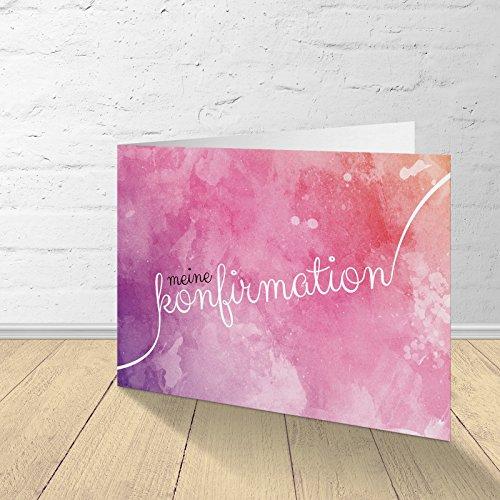 """5 Karten zur Konfirmation mit passenden Umschlägen, Einladungskarten zur Konfirmation, Klappkarten im Set zu 5 Stk. Motiv """"Wasserfarbe Lila"""""""
