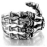 MunkiMix Stainless Steel Ring Band Silver Black Skull Hand Bone Gothic Men