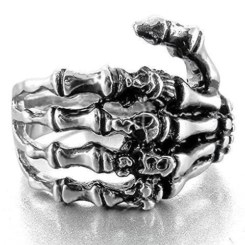 MunkiMix Edelstahl Ring Band Silber Ton Schwarz Totenkopf Schädel Hand Knochen Größe 57 (18.1) Herren - Anelli
