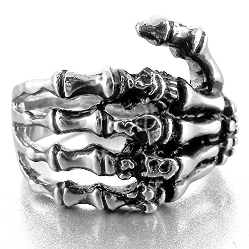 MunkiMix Stainless Steel Ring Band Silver Tone Black Skull Hand Bone Size Z+3 Men