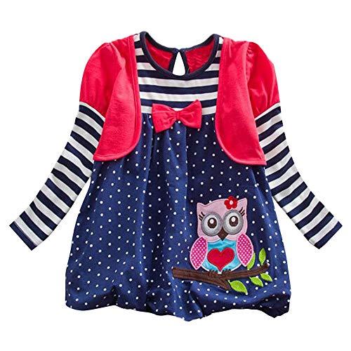 bobo4818 Kleinkind Blumenmädchen Kleid Baumwolle Langarm Navy Baby Mädchen Hochzeit Geburtstag Kleider für 2-8 Jahre Mädchen Langarm-Kleid (6Years, Rot)