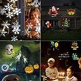 Omar-clare Outdoor LED Paesaggio Film Light Natale Proiettore laser 6 carte per set Snowflake Light Lampada da parete Moving Spumante per Natale Halloween Party Garden Festa di compleanno