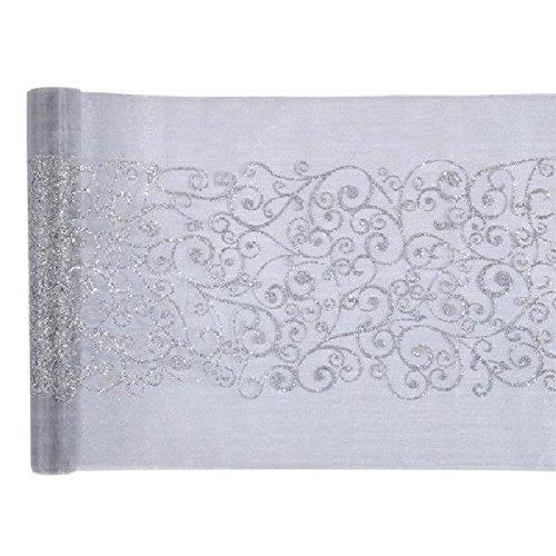 Fetez moi - Chemin de table argenté motif arabesque - Rouleau de 5 m x 28 cm
