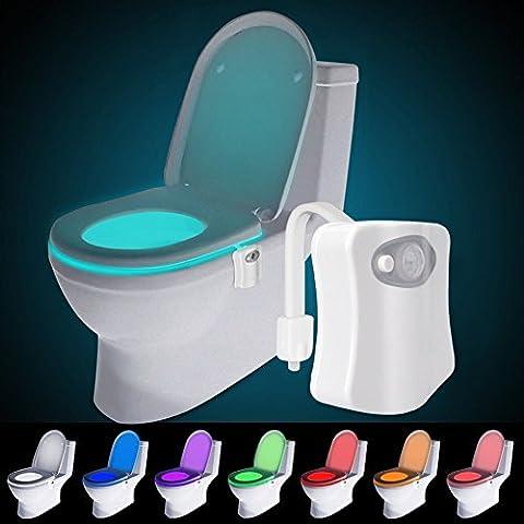 Toiletten Nachtlicht, Audel LED Toilette Licht WC Lampe mit Bewegungssensor und 8 Farben Batteriebetriebenes Licht Toilettenlicht Toilettenbeleuchtung für Kinder Eltern im Badezimmer,