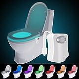 Toiletten Nachtlicht, Audel LED Toilette Licht WC Lampe mit Bewegungssensor und 8 Farben Batteriebetriebenes Licht Toilettenlicht Toilettenbeleuchtung für Kinder Eltern im Badezimmer, Hause
