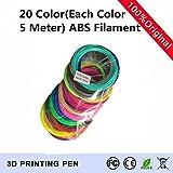 TIANLIANG04 20 Color (100 Meter) 3-D-Pen Filament ABS 1,75 mm Kunststoff Gummi Drucken Material für 3D Drucker Pen Filament