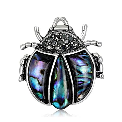 Lureme nouveau Insect Bijoux Abalone Shell avec strass Ladybug Broche Pin (br000073)