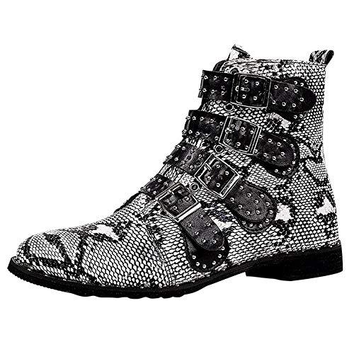 LianMengMVP Femmes Les Chaussures des Dames Peau de Serpent Boucle Cool Bottes Moto Chelsea Bottillon Court