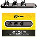 C-Slide Cable Quacks Magnetic Cable Organizer Holder Clip For Power Cords, Self-Adhesive, Wire Holder, Charging Accessory Cables And HDMI Cables, Cable Management, Mouse Cable, PC, Office And Home